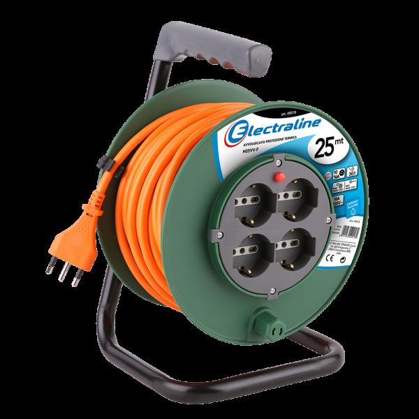 Electraline 49030 prolunga elettrica con avvolgicavo a tamburo fisso 15 mt 4 pre