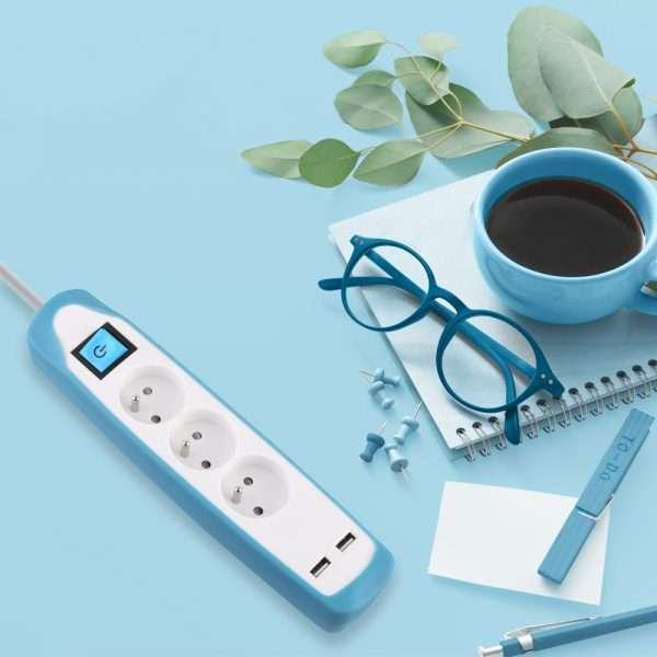 Electraline Gummy 35619 Bloc Multiprise 5 prises et 2 USB avec interrupteur fiche plat couverture en silicone antid/érapant c/âble 2 mt