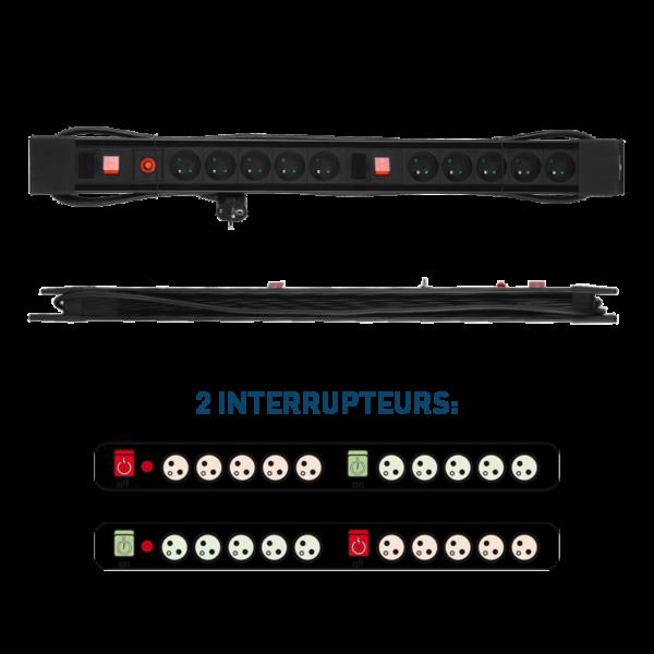 Bloc multiprises avec 10 prises avec 2 interrupteurs