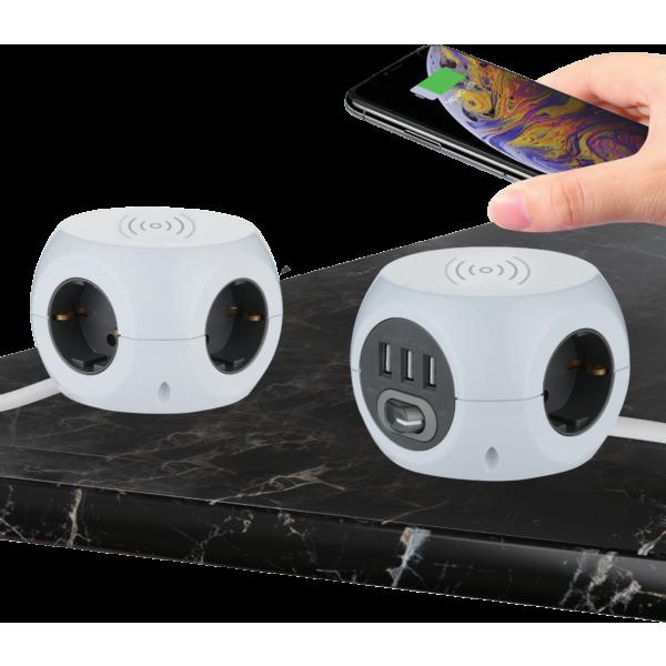 Multipresa Cubo con caricatore Wireless