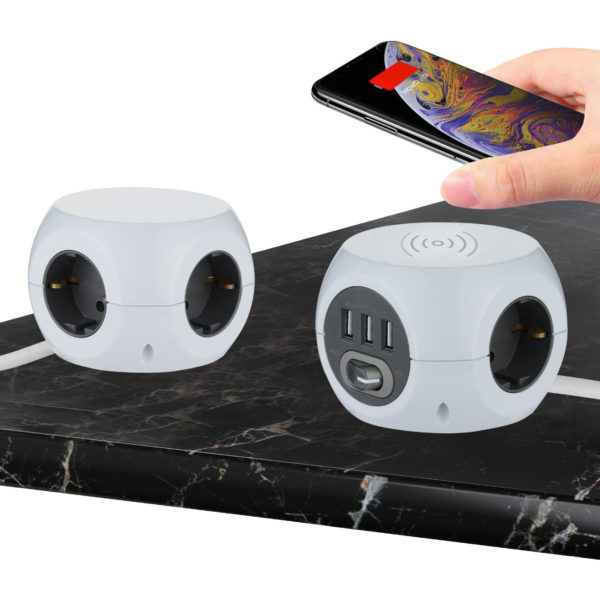 Multipresa Cubo con caricatore Wireless