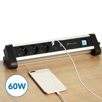 Bloco tomadas com potente carregador USB de 60W (Tipo A e C)