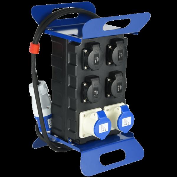 Quadro di distribuzione portatile con interruttore differenziale di sicurezza RCD, ad uso industriale.